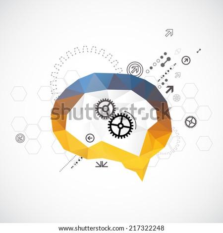 Brain triangle background - stock vector