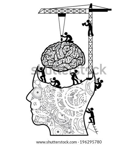 Brain under construction concept vector  - stock vector