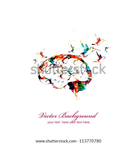 Brain vector background - stock vector