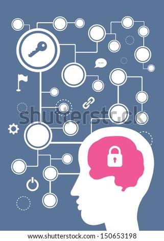 brain vector cartoon style for use - stock vector