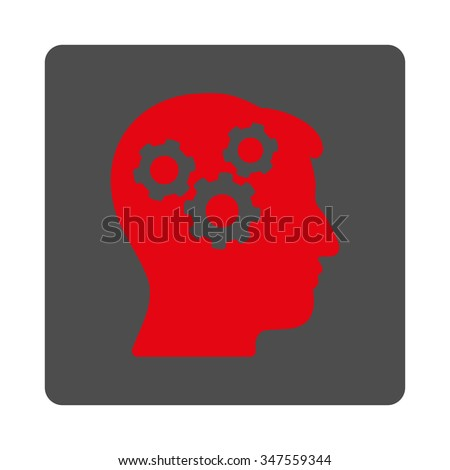 Brain vector icon. Style is flat rounded square silver button with red symbol, white background. - stock vector