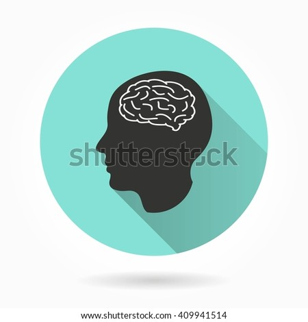 Brain   vector icon with long shadow. White illustration isolated on green background for graphic and web design.   - stock vector