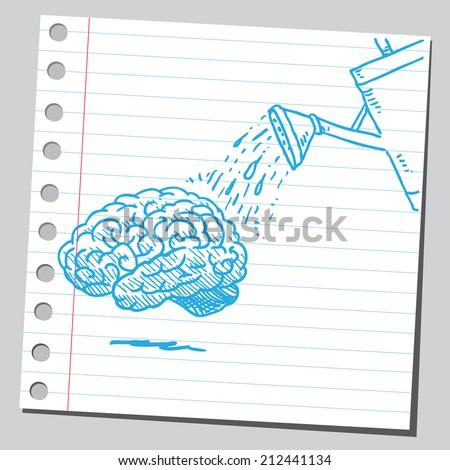 Brain watering - stock vector