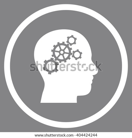 Brain Wheels vector icon. Picture style is flat brain gears rounded icon drawn with white color on a gray background.