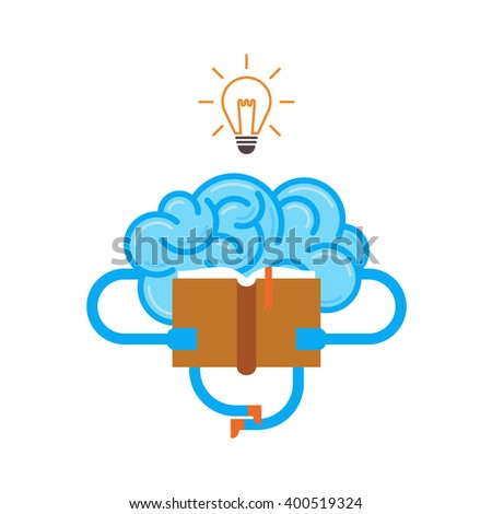 Brain with book and idea bulb. Conceptual illustration of training your brain. - stock vector