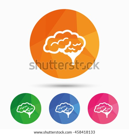 Brain with cerebellum sign icon. Human intelligent smart mind. Triangular low poly button with flat icon. Vector