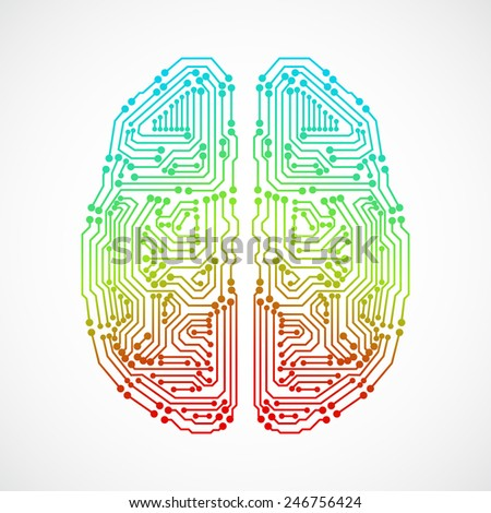Brain with circuit board texture. Digital concept. Digitally background. EPS10 vector