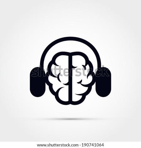 Brain with headphones - stock vector