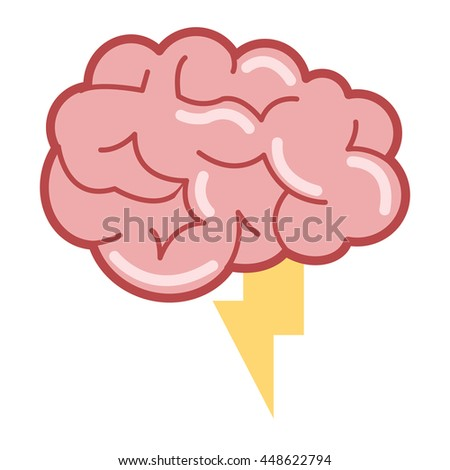 brain with lightning ray icon - stock vector