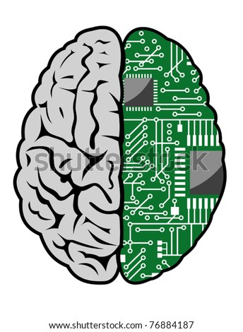 Brain with motherboard as a computer concept. Jpeg version also available in gallery - stock vector