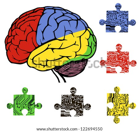 brain with puzzle in circuit style. vector illustration - stock vector