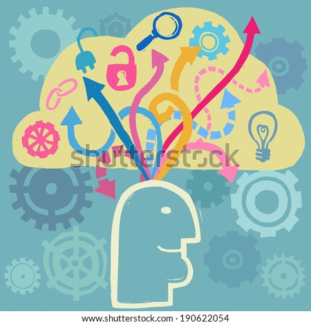 Brain work. Concept of working mind. Human head, gears and arrows. Vector illustration, doodle sketchy style - stock vector