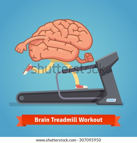 Brain working out on a treadmill. Education concept. Flat style vector illustration isolated on blue background. - stock vector