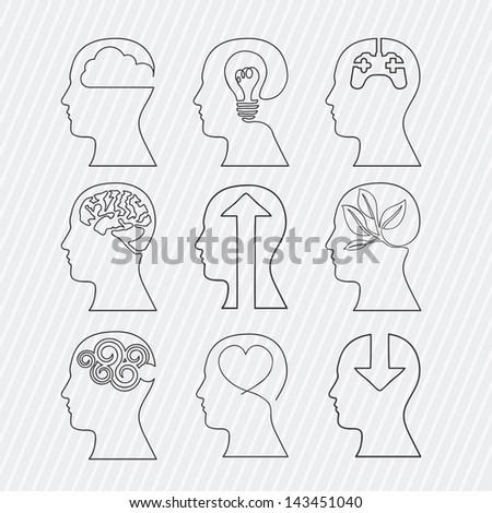 brains design over white background vector illustration - stock vector