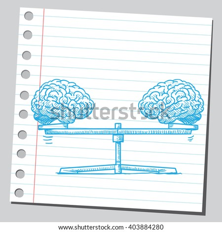 Brains on seesaw - stock vector