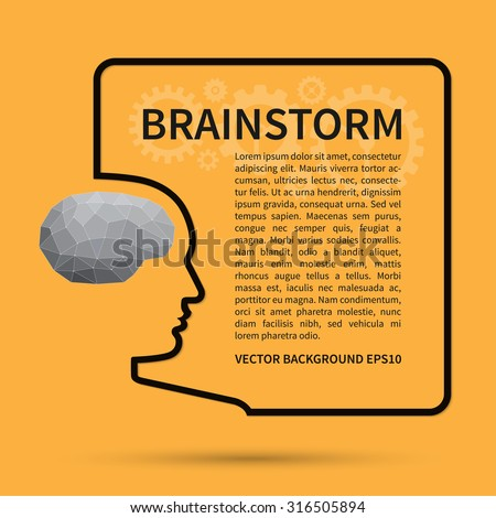 Brainstorm, creative thinking, business idea background concept. Wire silhouette of a human head with brain in polygon style forms a square text frame. Vector design template - stock vector