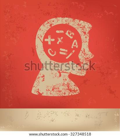 Brainstorm design on red background, grunge vector - stock vector