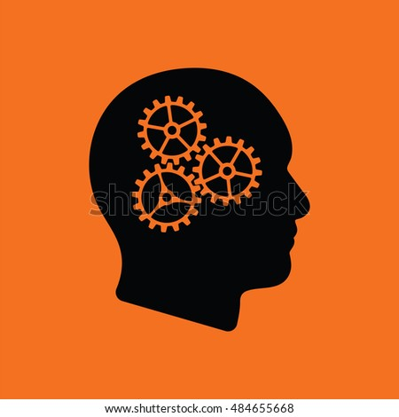 Brainstorm  icon. Orange background with black. Vector illustration.