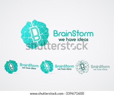 Brainstorm logo set, brain, creation idea logo templates and elements. Solve problems, idea creation business company logotype. Creative agency brand identity. Polygonal Brain icon concept. Vector. - stock vector