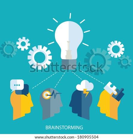 Brainstorm. Teamwork concept. Vector.   Brainstorming. Concept teamwork. Vector. - stock vector