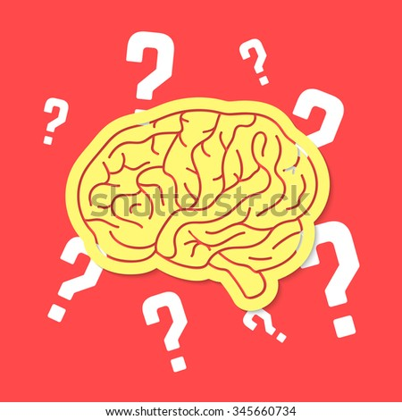 brainstorm with outline brain icon. concept of mental, voting, creativity, psychology, meditation, game. isolated on red background. flat style trend modern brain logo design vector illustration - stock vector