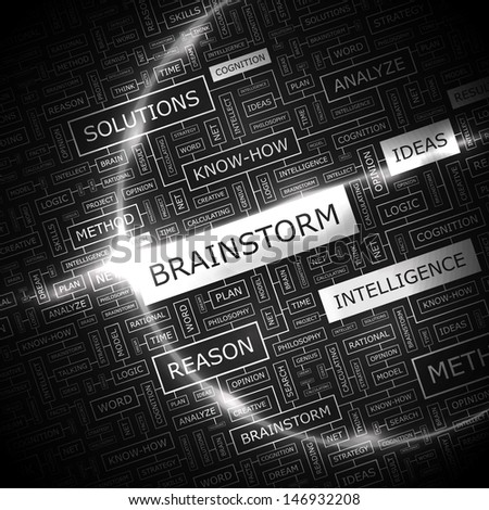 BRAINSTORM. Word cloud concept illustration. Graphic tag collection. Wordcloud collage with related tags and terms.  - stock vector