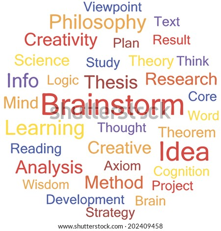 Brainstorm word collage, tag cloud vector illustration. - stock vector