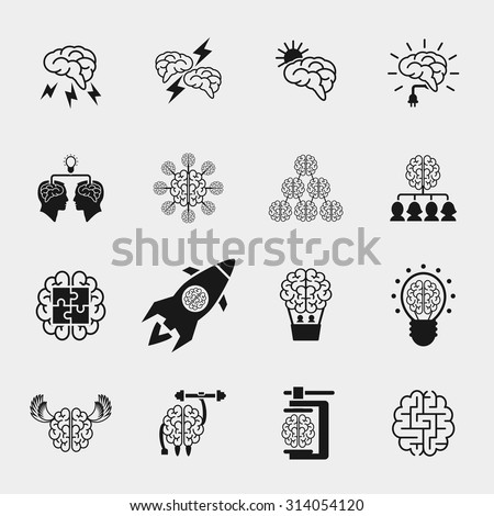 Brainstorming black icons set. Creative brain idea concepts. Thinking efficiency, strong knowledge, vector illustration - stock vector