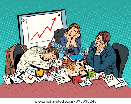 Brainstorming business concept late in the evening - stock vector