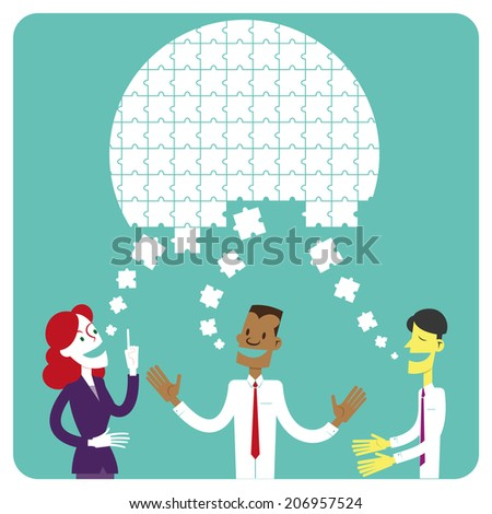 Brainstorming. Group solving problem generating ideas that creates together a solution. - stock vector