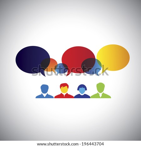 brainstorming, idea creation meeting, friendship - concept vector. This graphic illustration can also represent executives & employees meeting, chat, interaction & communication, imagination