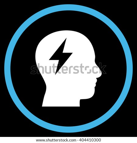 Brainstorming vector bicolor icon. Image style is a flat icon symbol inside a circle, blue and white colors, black background. - stock vector