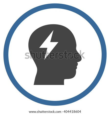 Brainstorming vector bicolor icon. Picture style is flat brainstorming rounded icon drawn with cobalt and gray colors on a white background. - stock vector
