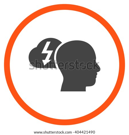 Brainstorming vector bicolor icon. Picture style is flat brainstorming rounded icon drawn with orange and gray colors on a white background. - stock vector
