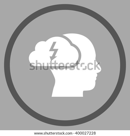 Brainstorming vector bicolor icon. Picture style is flat brainstorming rounded icon drawn with dark gray and white colors on a silver background. - stock vector