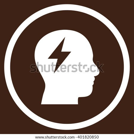Brainstorming vector icon. Image style is a flat icon symbol inside a circle, white color, brown background. - stock vector