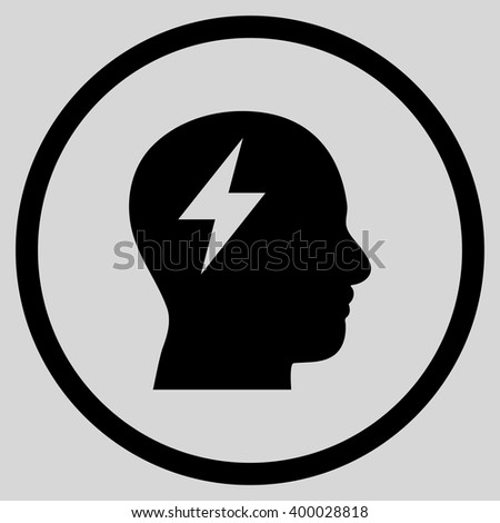 Brainstorming vector icon. Picture style is flat brainstorming rounded icon drawn with black color on a light gray background. - stock vector