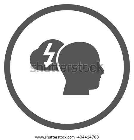 Brainstorming vector icon. Picture style is flat brainstorming rounded icon drawn with gray color on a white background. - stock vector