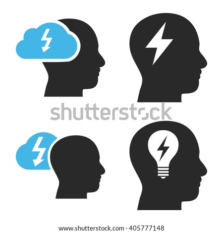 Brainstorming vector icons. Style is bicolor blue and gray flat symbols on a white background. - stock vector