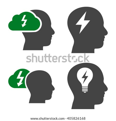 Brainstorming vector icons. Style is bicolor green and gray flat symbols on a white background. - stock vector