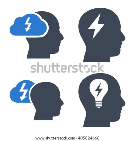 Brainstorming vector icons. Style is bicolor smooth blue flat symbols on a white background. - stock vector