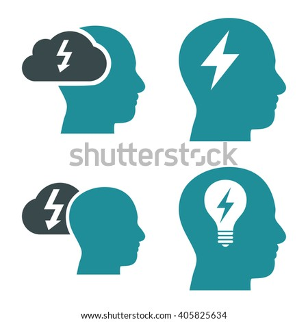 Brainstorming vector icons. Style is bicolor soft blue flat symbols on a white background. - stock vector