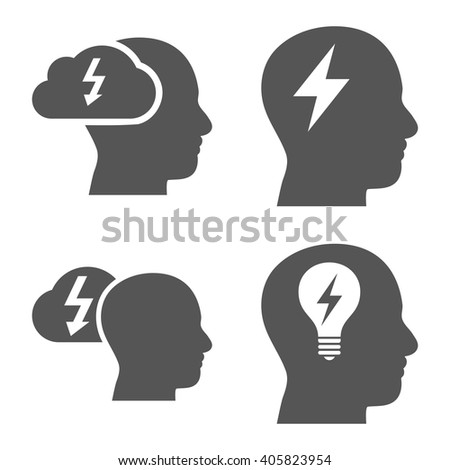 Brainstorming vector icons. Style is gray flat symbols on a white background. - stock vector