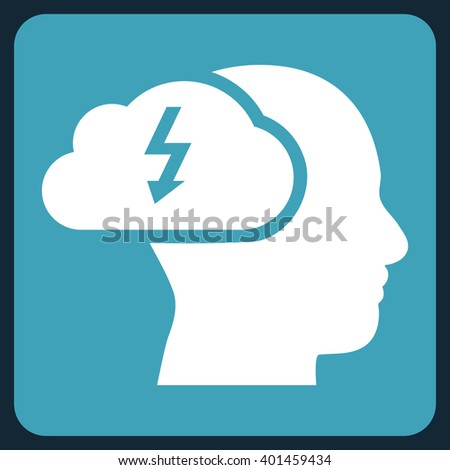 Brainstorming vector pictogram. Image style is bicolor flat brainstorming pictogram symbol drawn on a rounded square with blue and white colors. - stock vector