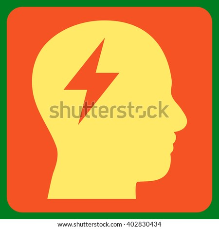 Brainstorming vector pictogram. Image style is bicolor flat brainstorming pictogram symbol drawn on a rounded square with orange and yellow colors. - stock vector