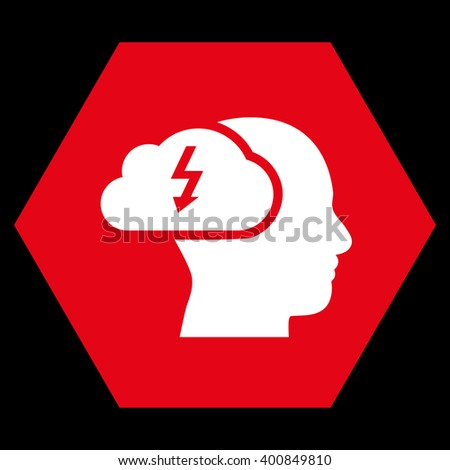 Brainstorming vector symbol. Image style is bicolor flat brainstorming icon symbol drawn on a hexagon with red and white colors. - stock vector