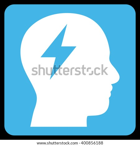 Brainstorming vector symbol. Image style is bicolor flat brainstorming iconic symbol drawn on a rounded square with blue and white colors. - stock vector
