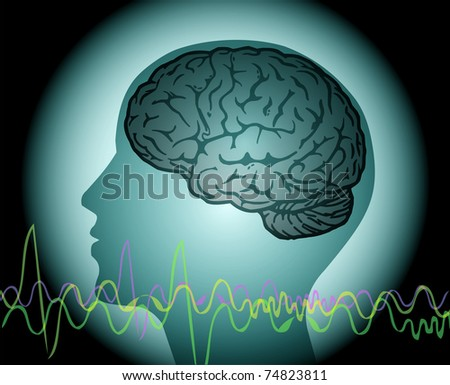 Brainwave, human head with brain and wve lines - stock vector