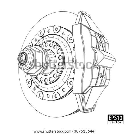 Brake Discs with Calipers / EPS10 Vector - stock vector