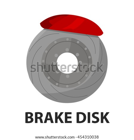 Brake shoe icon cartoon style. Single silhouette auto parts icon from the big car set - stock vector